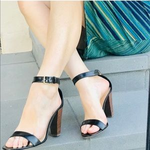 J. CREW lanie sandal HEELS black leather 9 ankle